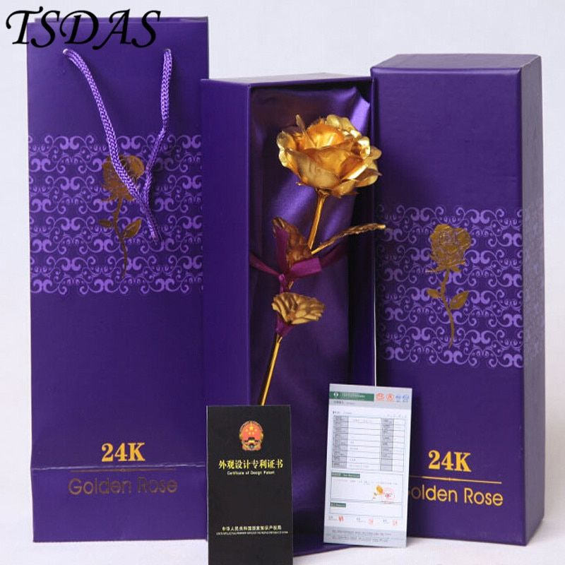2016 Hot Sale Valentine's Day Gifts 25cm Length 24k Gold Rose, <font><b>Golden</b></font> Rose Flower HOME Decoration