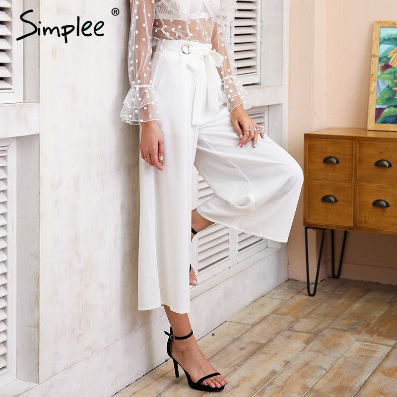 Simplee Metal ring tie up <font><b>wide</b></font> leg pants women capris Chic streetwear casual pants 2018 Spring summer beach elastic trousers