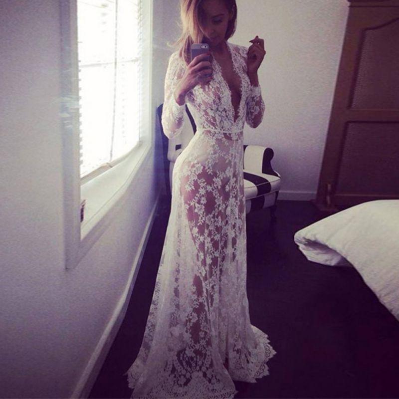 Mode été femmes dentelle Floral Boho longue Maxi robe évider à manches longues col en V robes de grande taille S-4XL nouveau