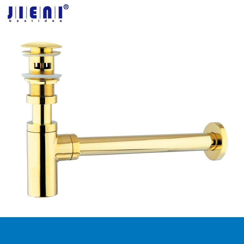 Golden Brass Cupc Bottle Traps Pop up Basin Waste Drain Basin Faucet P-Traps Waste Pipe Into the wall drainage Plumbing tube
