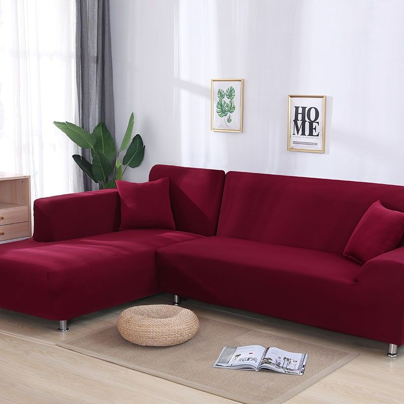 Couleur grise serré housse de canapé élastique besoins de commande 2 pièces housse de canapé si l-style sectionnel canapé d'angle capa de canapé