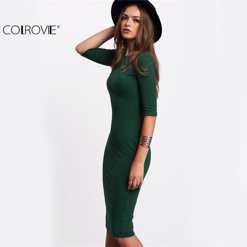 COLROVIE Work Summer Style Women Bodycon Dresses Sexy <font><b>Casual</b></font> Green Crew Neck Half Sleeve Midi Dress
