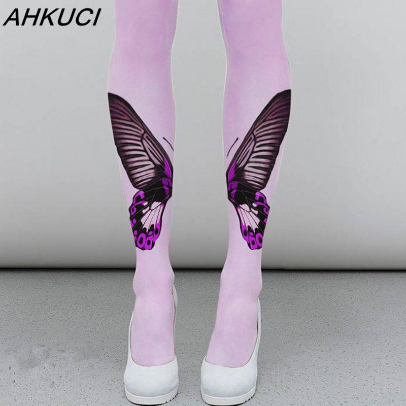 AHKUCI Nuevas Mujeres Impreso Señoras Medias de Nylon Pantimedias Mariposa Patrón de Terciopelo Caliente Collant Femme Pie Leggins Elástico