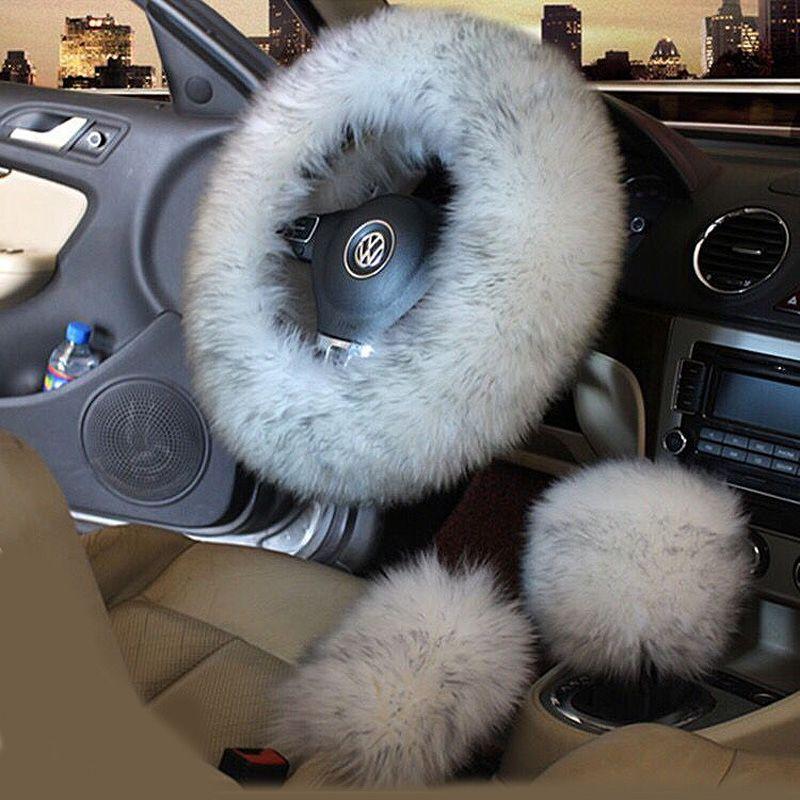 Couverture de volant de voiture en laine d'hiver 3 pièces/ensemble longue couverture de volant de fourrure chauffée en laine australienne couverture de manette de vitesse de vitesse de frein à main