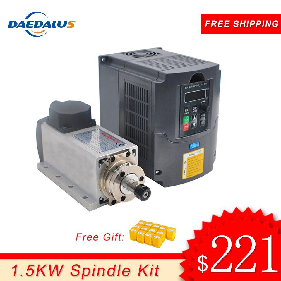 Spindel 1.5KW 110 V 220 V Motor CNC Spindel ER11 Router 1.5KW Konverter Inverter VFD Inverter Für Fräsen Gravur Werkzeuge