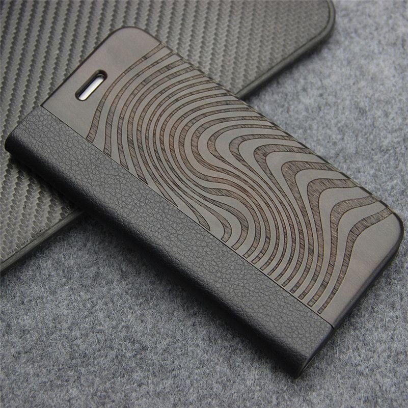 Rétro En Cuir étui pour samsung Galaxy S8 S7 bord S9 Plus Naturel En Bois Véritable avec Support pour iPhone 7 8 Plus