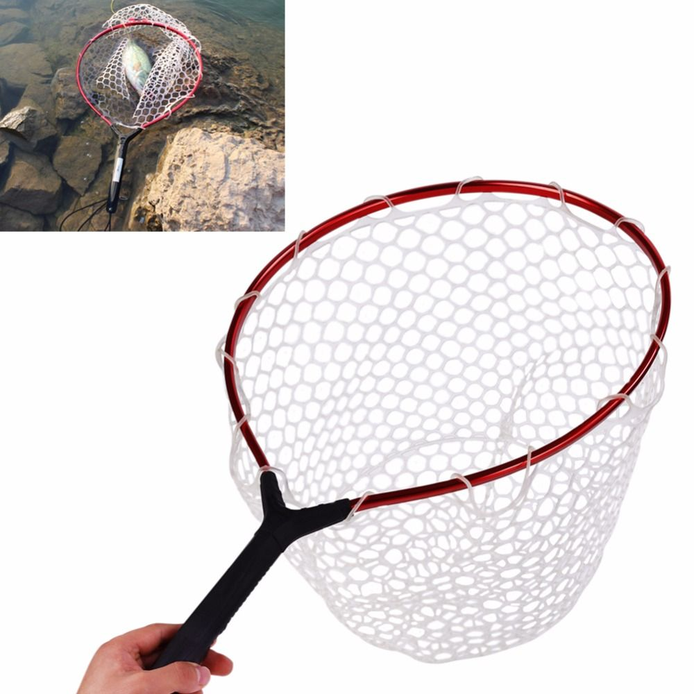 New Rubber Fly Fishing Landing Dip Net Aluminum Alloy Ring Monofilament Hand Fishing Net with Landyards