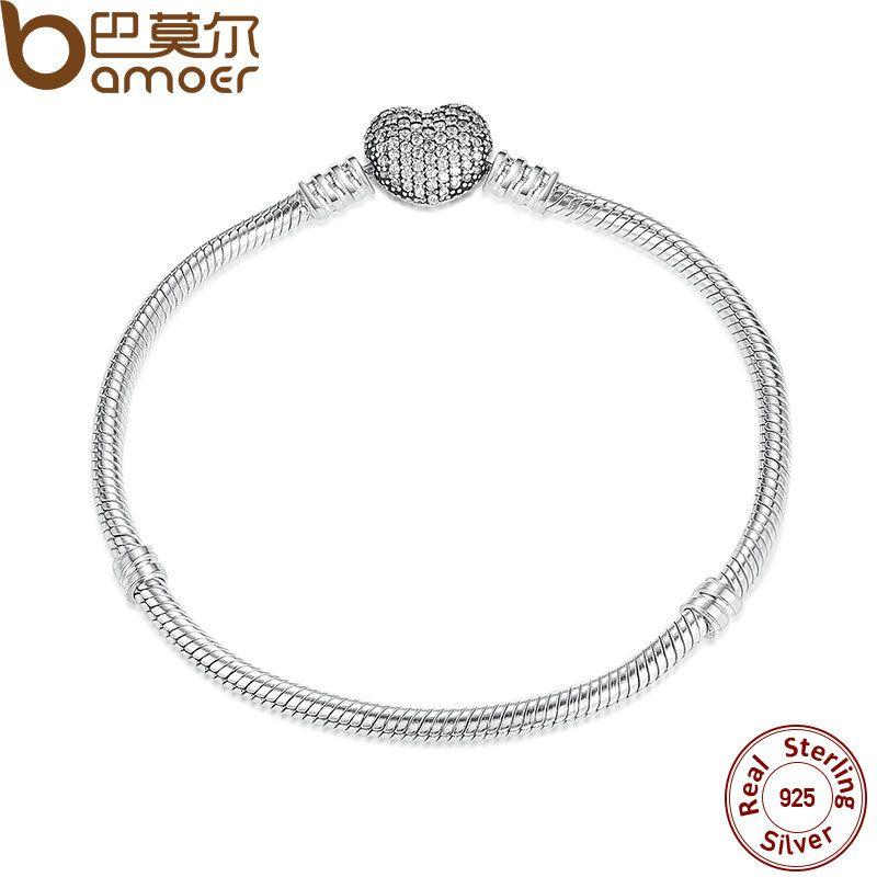 BAMOER Authentic 925 Sterling Silver Love Heart Chain Snake Bracelet & Bangle 17CM 18CM 19CM 20CM Jewelry PAS906