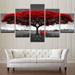 Модульные hd-принты на холсте плакаты украшения для дома настенные картины 5 шт. Красное Дерево Искусство декоративный пейзаж картины рамки ...