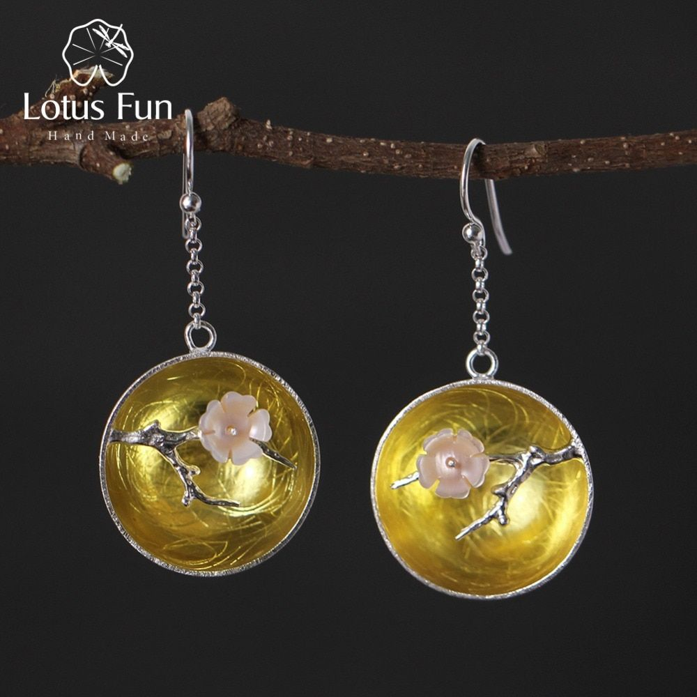 Lotus Fun Real 925 Sterling Silver Natural Shell Handmade Fine Jewelry The Aroma of Wintersweet Dangle Earrings for Women Brinco
