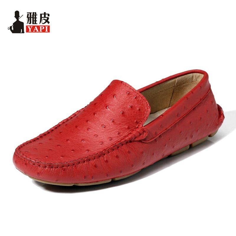 6 couleurs TOP doux en cuir véritable autruche imprime décontracté sans lacet Penny mocassins paresseux homme conduite bateau chaussures