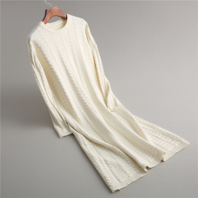 2019 mode tenue décontractée femmes hiver surdimensionné pull à manches longues col rond solide femme tricoté épais robe pull Vestidos