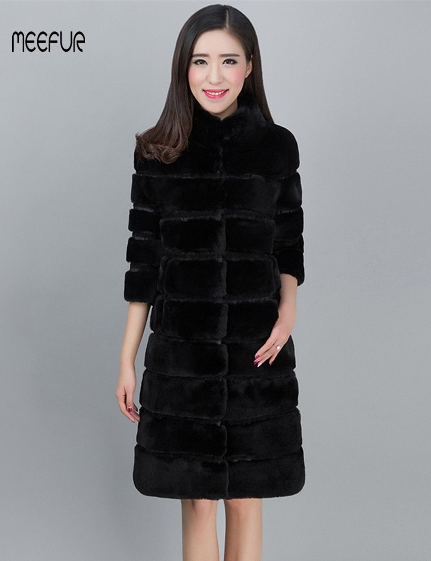 2018 New X-Long Womens Genuine Rex Rabbit Fur Long Coats Stand Collar Lady Winter Real Fur Parka Stripe Design LX00693