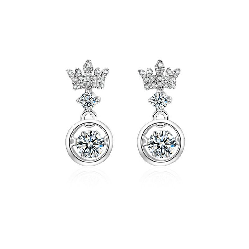 New Europe and America Smart 925 Silver Needle Crystal from Austrian Crown Earrings Flashing For Woman Christmas Gifts