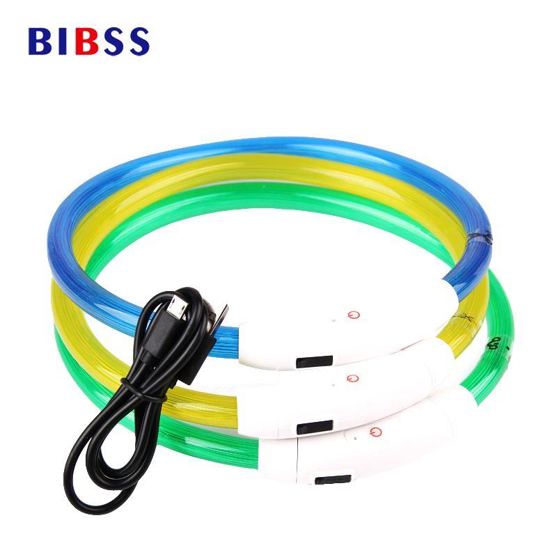 Chargement USB Réglable Collier de Chien MENÉ Rechargeable Nuit Clignotant Colliers De Chien Lumineux En Plastique Solide Collier pour Chiens