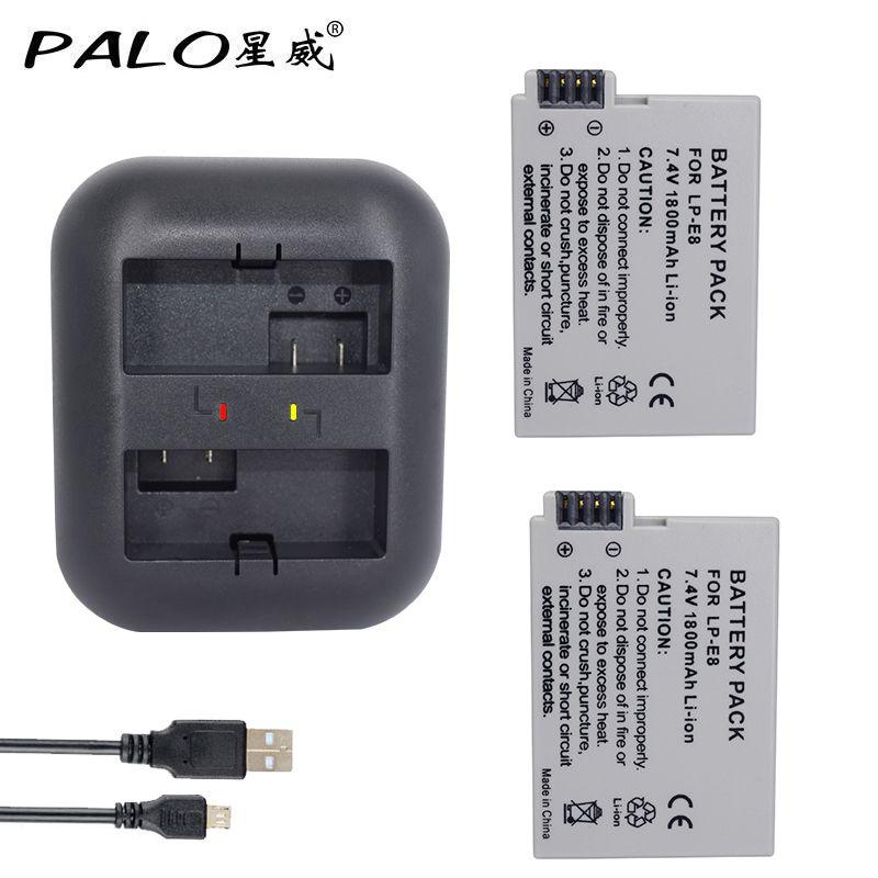 PALO 2Pcs 1800mah LP-E8 LPE8 LP E8 Battery Batterie AKKU +Dual Charger for Canon EOS 550D 600D 650D 700D X4 X5 X6i X7i T2i T3i