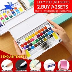18/24/36Color Solid Water Color Painting Set Box With Water Brush Bright Color Portable Watercolor Pigment Set Get 5 Gitfs