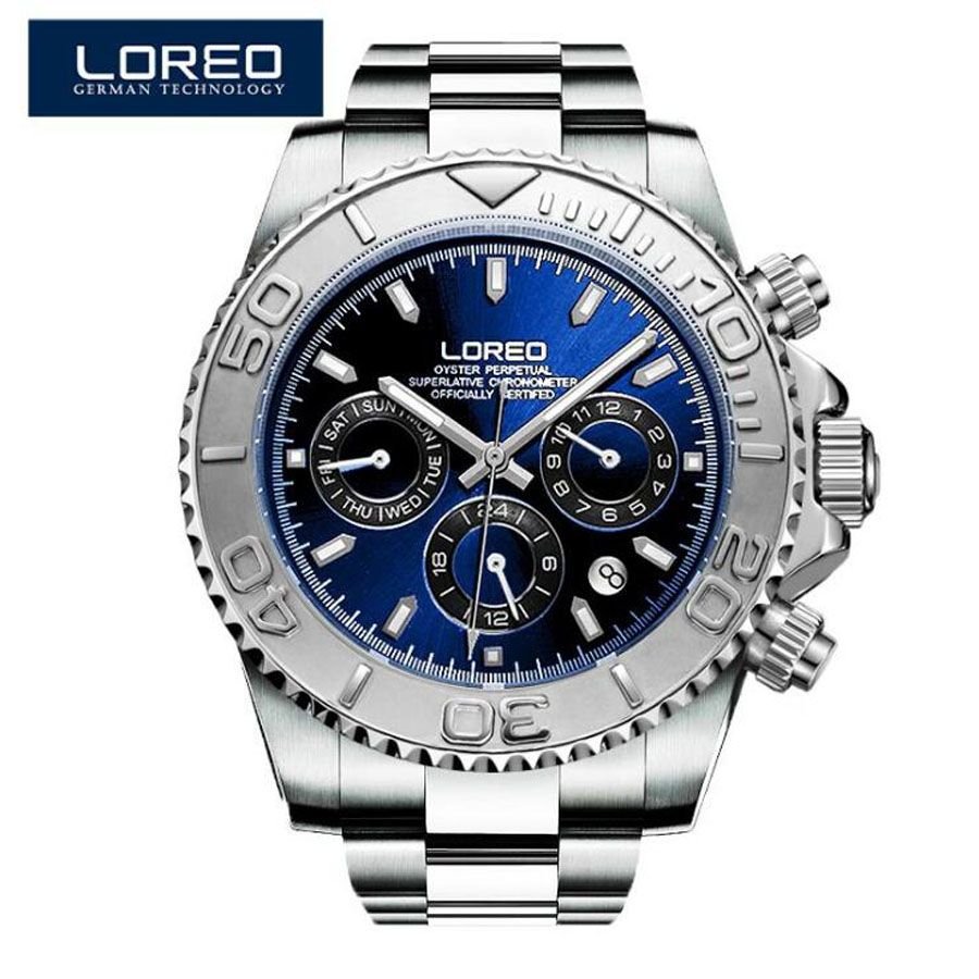 LOREO Men Watches Auto Date Sapphire Watch Sports Stainless Steel Strongest Luminous Waterproof 200m Diver Mechanical Wristwatch