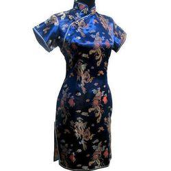 Nueva llegada femenino chino qipao corto cheongsam estilo tradicional de las mujeres Vestido de satén de seda dragón y Phenix tamaño S m L XL XXL WC010