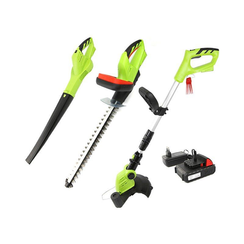DEKO 3 In 1 20V 2000mAh Lithium Battery Cordless Grass Trimmer Hedge Trimmer and Leaf Blower Garden Tool Set Lawn Mower