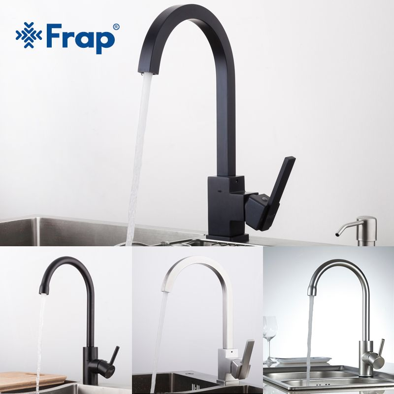 FRAP New Arrival Hot and Cold Water kitchen sink faucet Space Aluminum Water mixer Tap 360 Degree Rotation YF40010