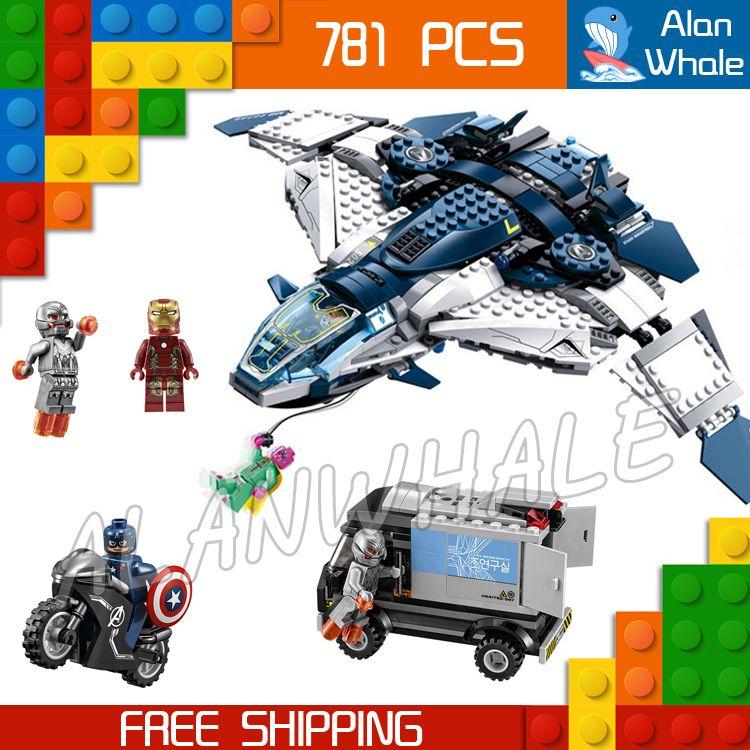 781PCS Bela SY359 superheroes Quinjet City Chase Iron Man Black Widow Vision Ultron building blocks Bricks Compatible With Lego
