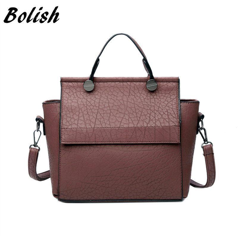 Bolish Vintage Trapeze Tote Women Leather Handbags Ladies Party <font><b>Shoulder</b></font> Bags Fashion Female Messenger Bags bolsa feminina