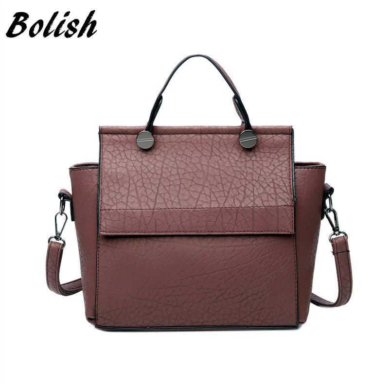 Bolish Vintage Trapeze Tote Women Leather Handbags Ladies <font><b>Party</b></font> Shoulder Bags Fashion Female Messenger Bags bolsa feminina