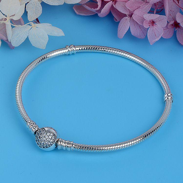 Luxury 100% 925 Sterling Silver Sparkling Heart Snake Chain Fit Original Charm <font><b>Pandora</b></font> Bracelet & Bangle For Women Fine Jewelry