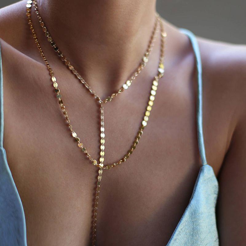Себе колье Цепочки и ожерелья слоистых Монета диск Цепочки и ожерелья набор из двух вечерние украшения подарок XL746