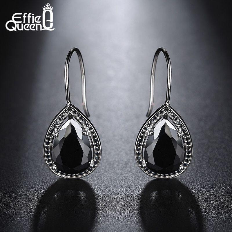 Effie Queen 2017 pierre naturelle mode noir clair grande goutte boucles d'oreilles bijoux or blanc boucles d'oreilles pour les filles printemps Style DE164