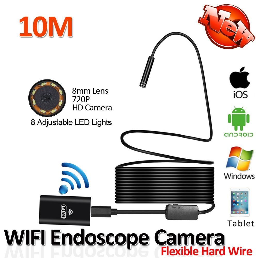 2017New 8LED 10M Hard Flexible Snake USB WIFI Android Endoscope Camera HD720P 8mm 2MP Iphone Borescope Pipe Inspection Camera