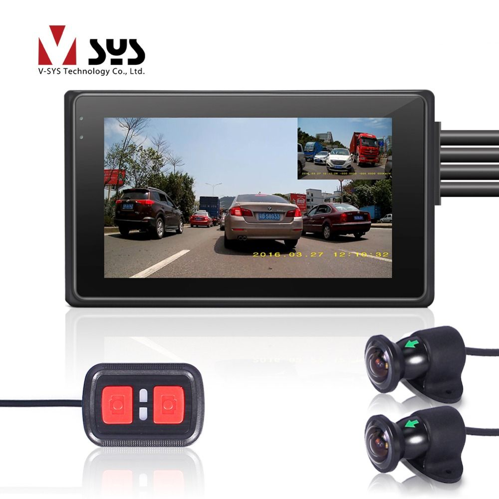 VSYS M2F WiFi Dual FHD 1080P Motorcycle Dash Cam DVR with 170 Degree Wide Angle Front & Rear View Motorcycle Camera Recorder GPS