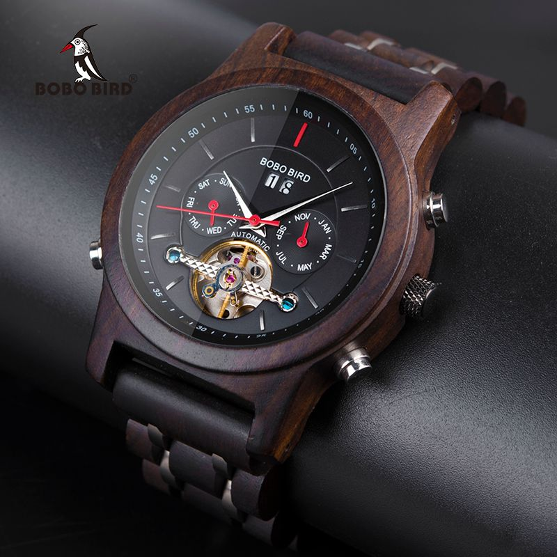 BOBO BIRD Automatic <font><b>Mechanical</b></font> Watches Men Wooden Luxury Watch with Calendar Display Multifuctions relogios automaticos mecanic