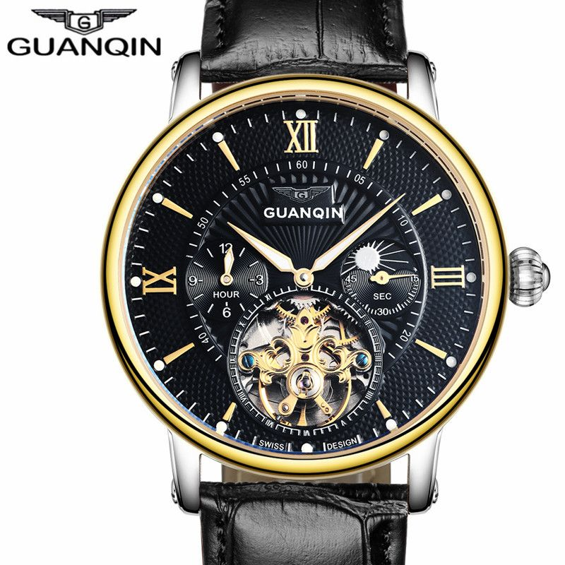 Mens Watches Top Brand Luxury GUANQIN Men Sport Tourbillon Automatic Mechanical Leather Wristwatch Moon Phase relogio masculino