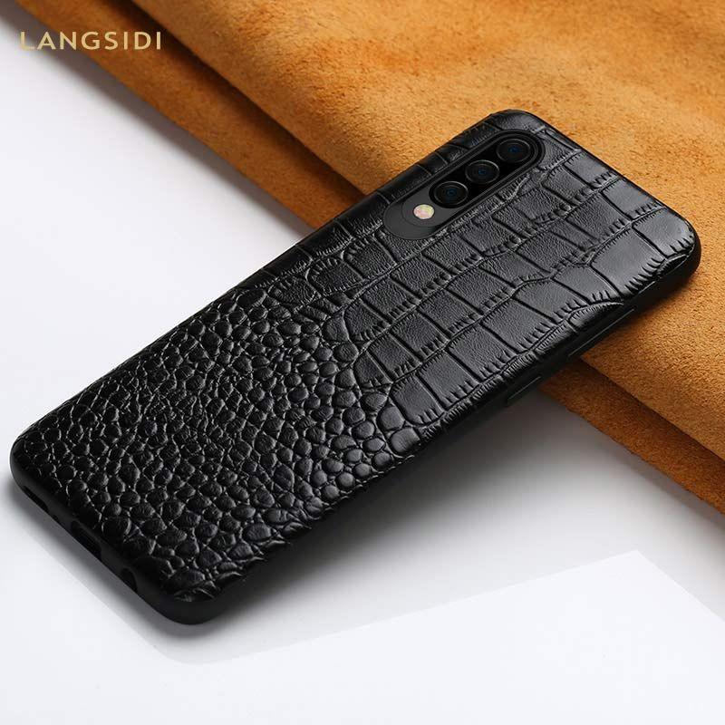 Véritable étui de téléphone portable en cuir pour Samsung galaxy A50 A70 luxe 360 Pleine couverture Arrière de protection pour A40 A30 A8 A7 2018 A505F