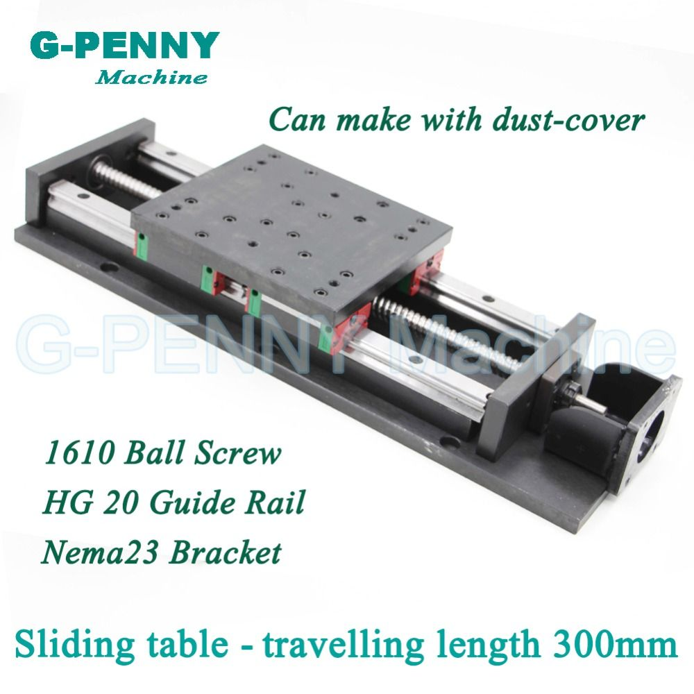 High Precision sliding table traveling length 300mm Chinese HG 20 Linear Guide Rail linear motion  Ball Screw 1610 for Z axis
