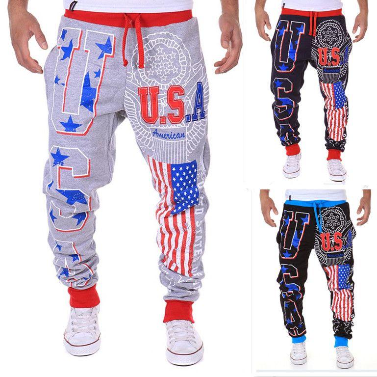 2017 Мужская одежда флаг Соединенных Штатов США буквы дизайн печать HO домашние штаны