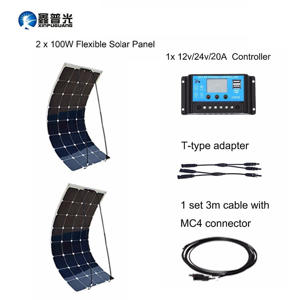 Flexible Solar Panel 2pcs 100w Cable 12v Or 24v 20a Controller Usb Output House 200w Kits Diy System Solar Power Station Home