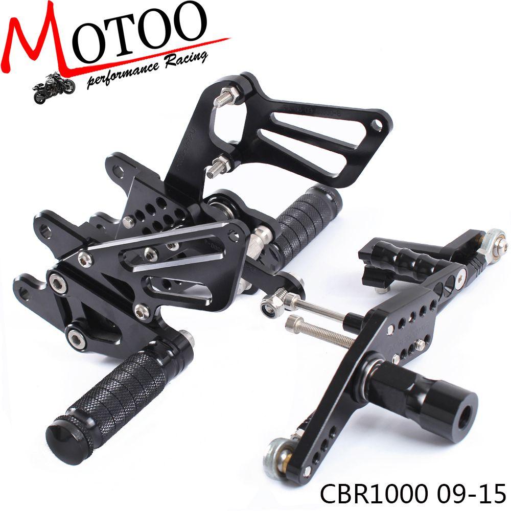 Motoo-Volle CNC Aluminium Motorrad Einstellbare Fußrastenanlage Rück Sets Fußrasten Für HONDA CBR1000RR ABS CBR 1000RR 2009- 2015