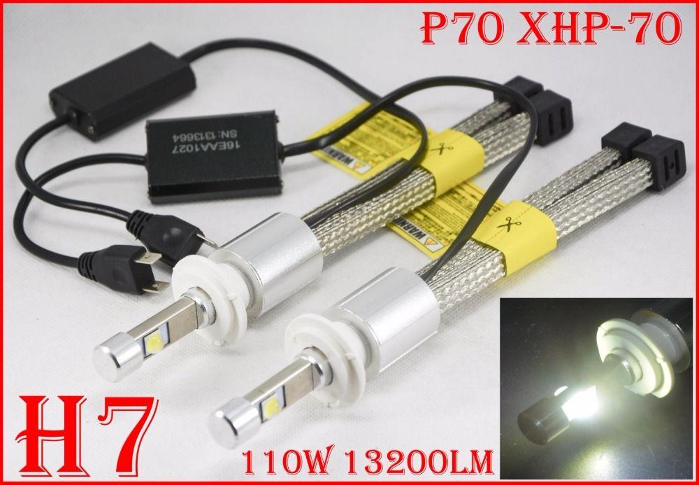 1 Set H7 110 W 13200LM P70 LED Phare XHP-70 4LED Puce sans ventilateur Super Slim Conversion Kit Conduite Brouillard Lampe Ampoule 5000 K 6000 K 55 W