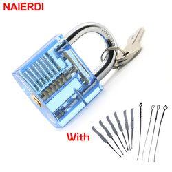 NAIERDI Schlosser Hand Tools Verschluss-auswahl Set Transparent Sichtbar Cutaway Praxis Vorhängeschloss Mit Gebrochenen Schlüssel Entfernen Haken Hardware