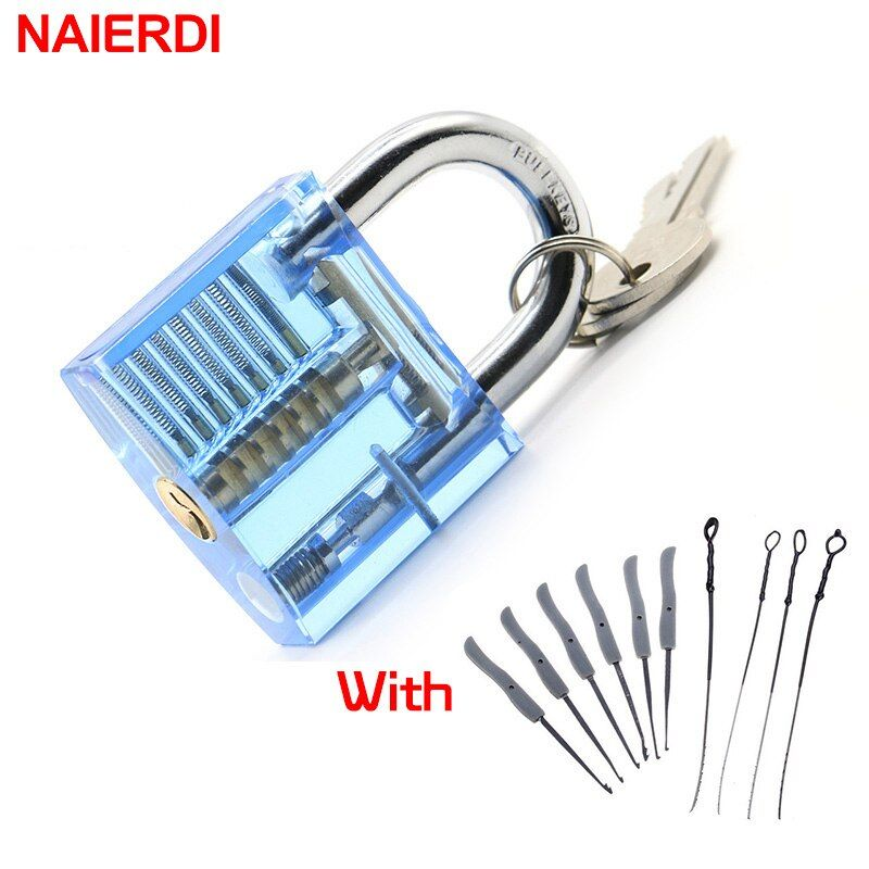NAIERDI Transparent Visible Pick Cutaway Practice Padlock Lock With Broken Key Removing Hooks Lock Extractor Set Locksmith Tool
