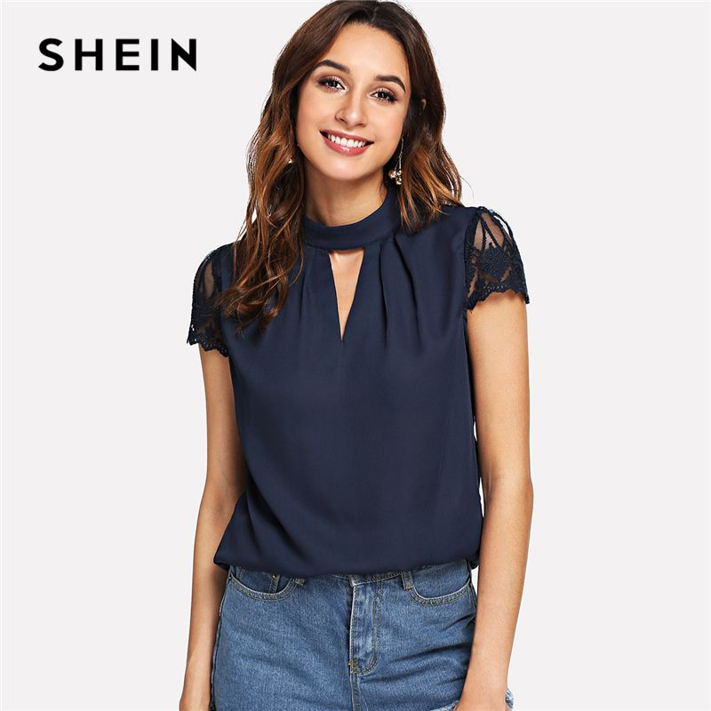 SHEIN Navy Elegant Workwear V Cut Neck Contrast Lace Sleeve <font><b>Stand</b></font> Collar Pleated Blouse Summer Women Weekend Casual Shirt Top