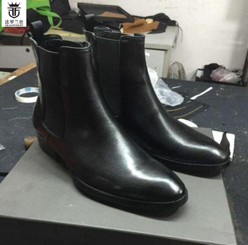 2018 FR.LANCELOT Top Quality Autumn Winter Patchwork Ankle Boots Men Chelsea Boots Slip On Shoes Men Wholesales Plus Size 46
