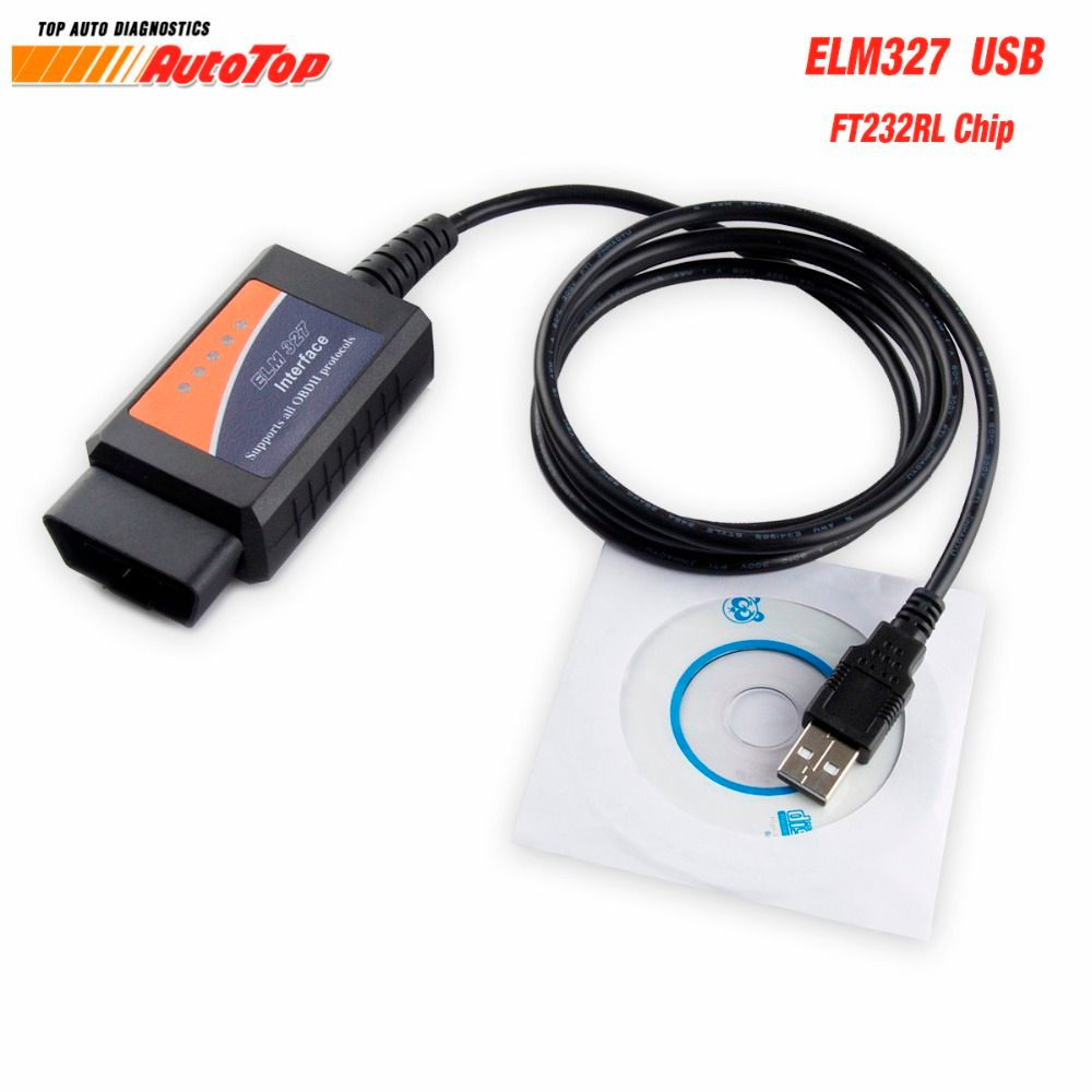 Meilleur ELM327 FTDI FT232RL ODB 2 ELM 327 USB V1.5 OBD2 Scanner EML 327 Autoscanner avec fonctions ODB2 Scanner de Diagnostic pour voiture