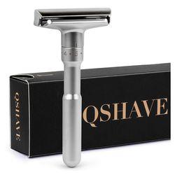 QSHAVE Регулируемая Безопасная бритва с двойным краем классическая мужская бритва мягкая и агрессивная 1-6 пилка для удаления волос бритва с 5 л...