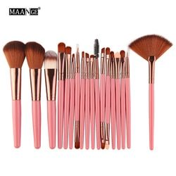 MAANGE 6-18 pcs/ensemble Pro Poudre Maquillage Brosses Ombre À Paupières Beauté Sourcils Fard À Joues Blush Fondation Fan Cheek Cosmétique Make-up Brosses