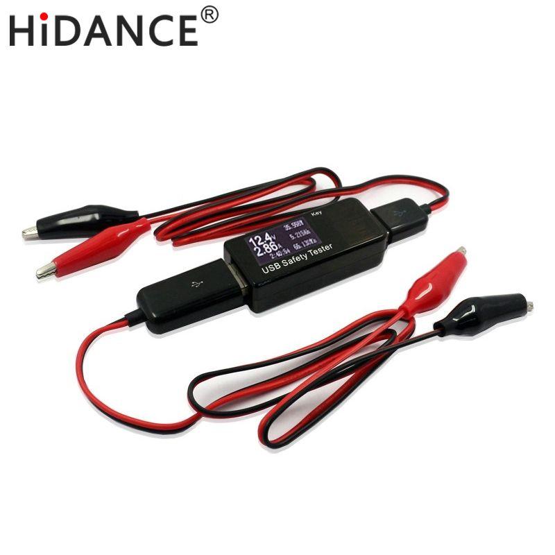 Haute qualité VOITURE USB testeur tension capacité actuelle test voltmètre testeur de Batterie Surveillance Crocodile fil pinces Crocodiles
