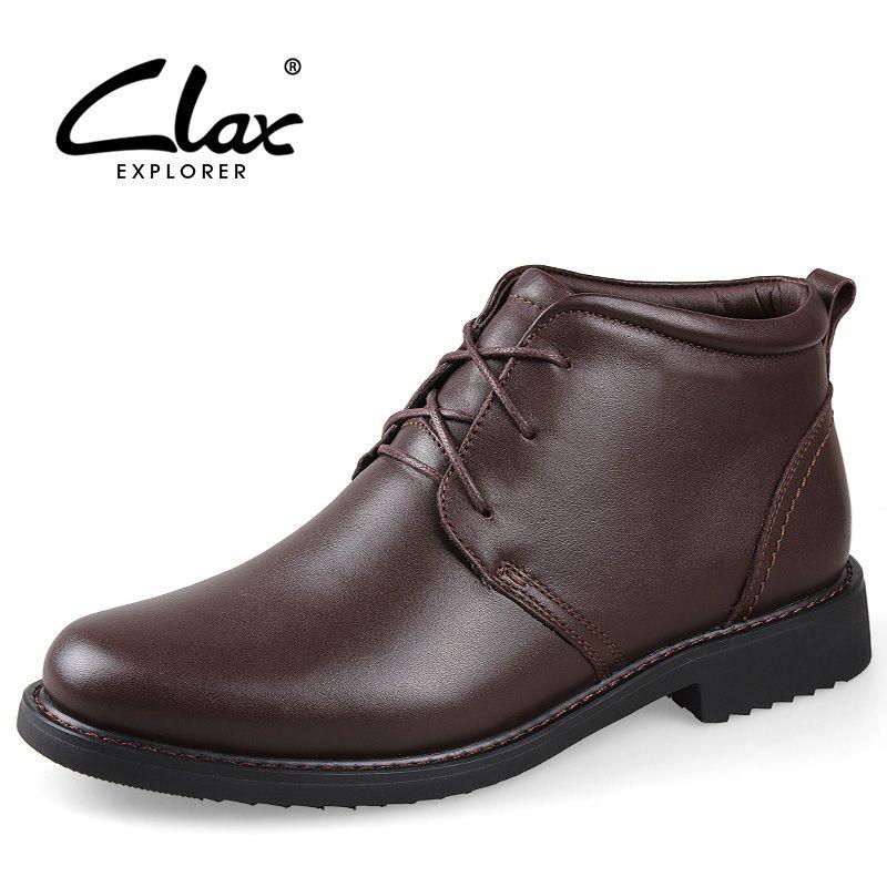 CLAX Hombres Botas de Invierno 2017 Botas de Vestir de Cuero Genuino Masculino Botín de piel de Felpa Zapatos Calientes de la Nieve de Piel Hecho A Mano Británico estilo